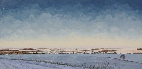 du côté du Bois de Parmont, vallée de l`Hallue enneigée. 2010-13. (50cmx100cm)