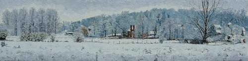 hiver enneigé sur les Prés de la Fontaine. 2011. 30cmx120cm