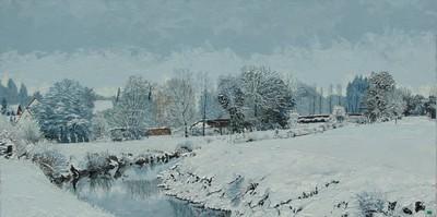 hiver sur l`Hallue. 2011. 50cmx100cm