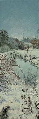 les baies d`églantier, l`hiver. 2012. 120cmx40cm