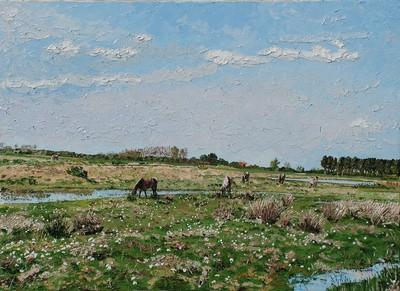 les chevaux de la Bassée, le Crotoy. 2009. (73cmx100cm)