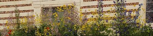 mur de l`église et fleurs (Montigny sur l`Hallue). 2012. 20cmx80cm
