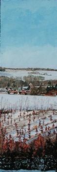neige dans la vallée de l`Hallue, le village de Béhencourt. 2010. (120cmx40cm)