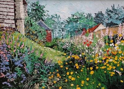 place de l`église en fleurs, Montigny sur l`Hallue. 2005. (54cmx73cm)