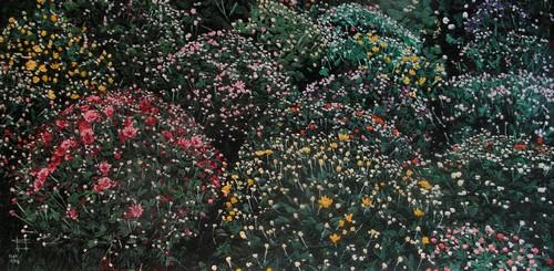 Parterre de Chrysanthèmes. 2008. (100cmx50cm)