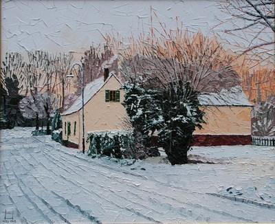 les Prés de la Fontaine sous la neige, Montigny sur l`Hallue. 2002. (38cmx46cm)