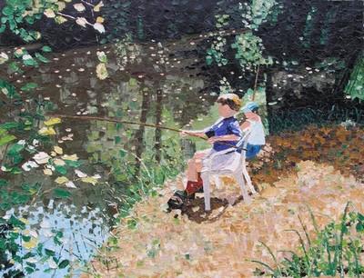 partie de pêche, marais de Fréchencourt. 1998. P15 (50cmx65cm)