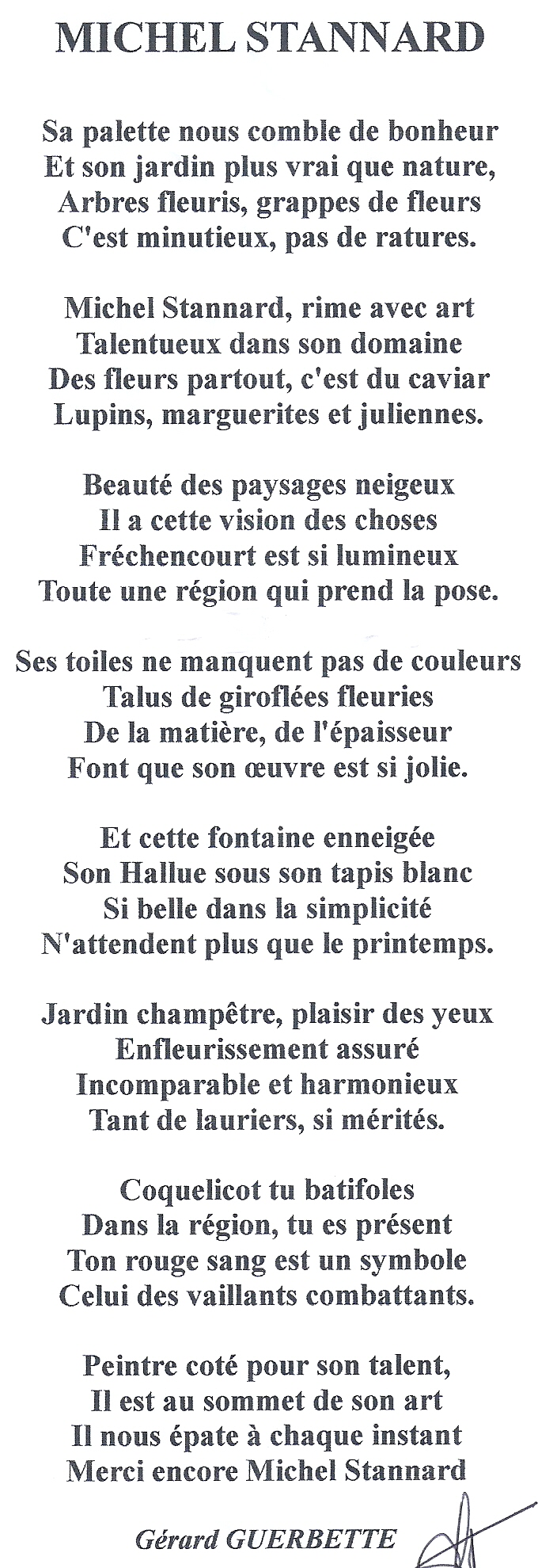 poème de Gérard GUERBETTE